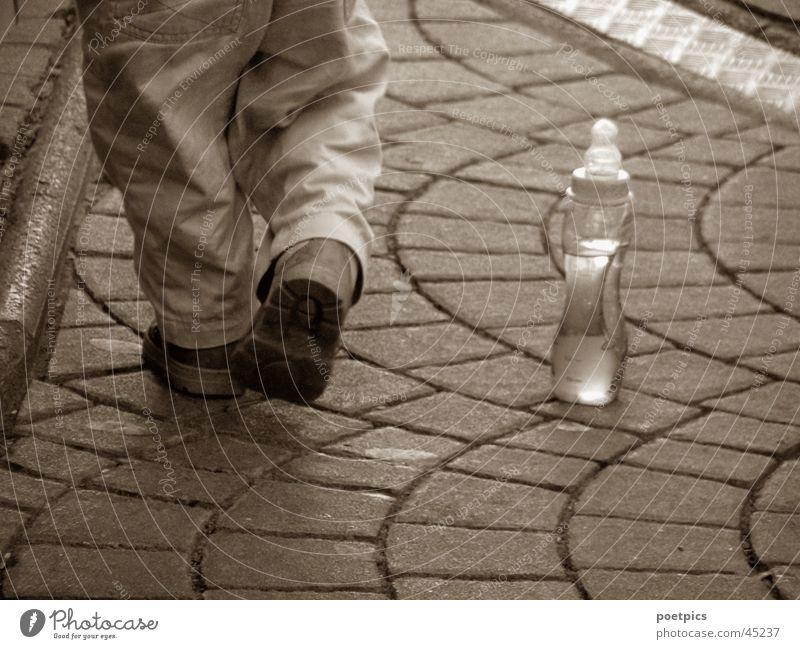 Child Feet Footwear Bottle Alcoholic drinks Toddler Sepia Juice