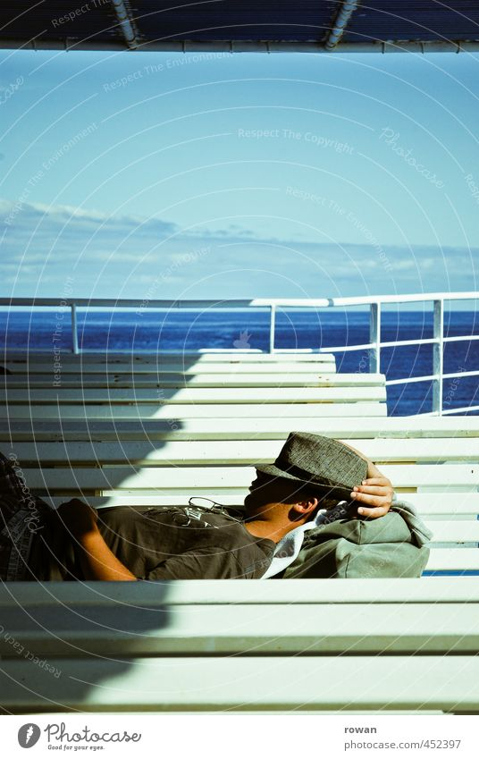 have a nap Beautiful weather Waves Ocean Warmth Ferry Navigation Cruise Bench Lie Sleep Siesta Hat Relaxation Break Cozy Far-off places Vacation & Travel