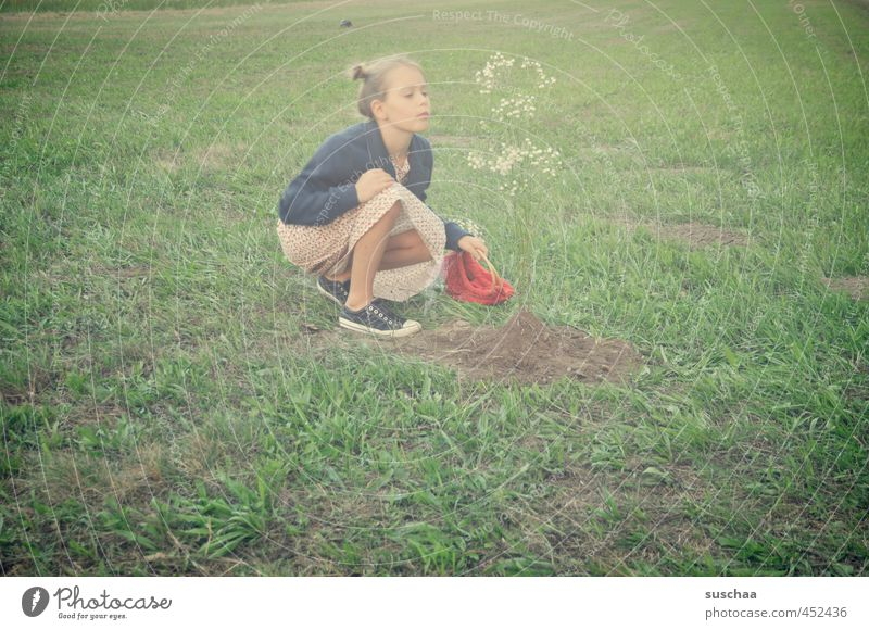 Human being Child Green Plant Summer Tree Girl Flower Face Environment Meadow Feminine Grass Head Natural Garden
