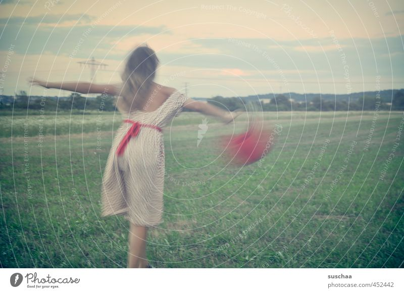 Human being Child Sky Nature Youth (Young adults) Green Summer Red Girl Young woman Joy Environment Meadow Feminine Movement Grass