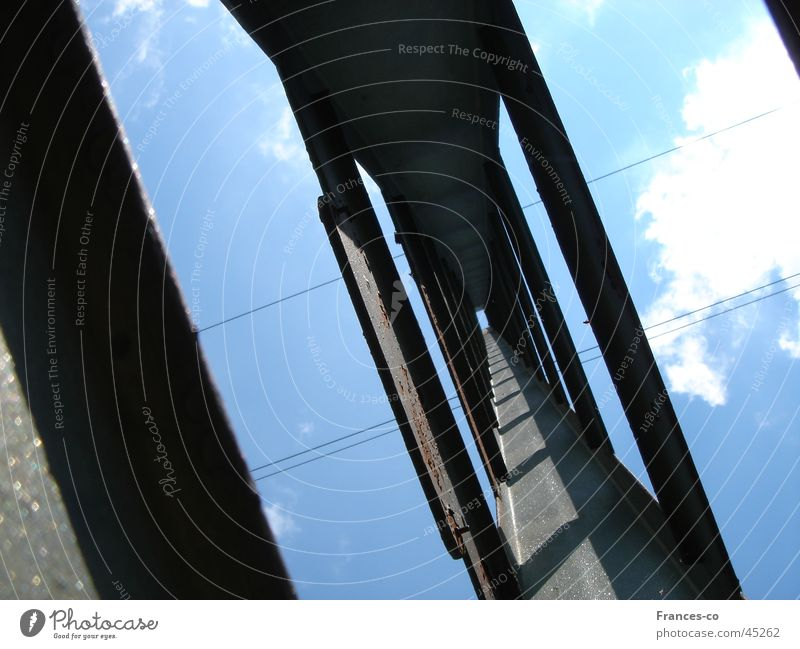 Sky Clouds Metal Architecture Cable Electricity pylon Vanishing point