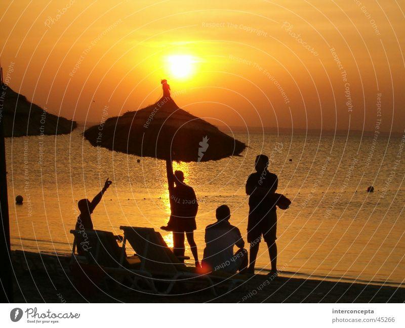 Sunset Group Beach Human being