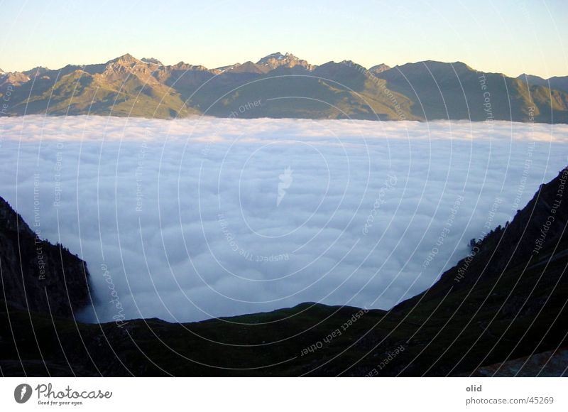 above the clouds Clouds Cloud cover Panorama (View) Vacation & Travel Mountain Blanket Closed Valley Looking Large