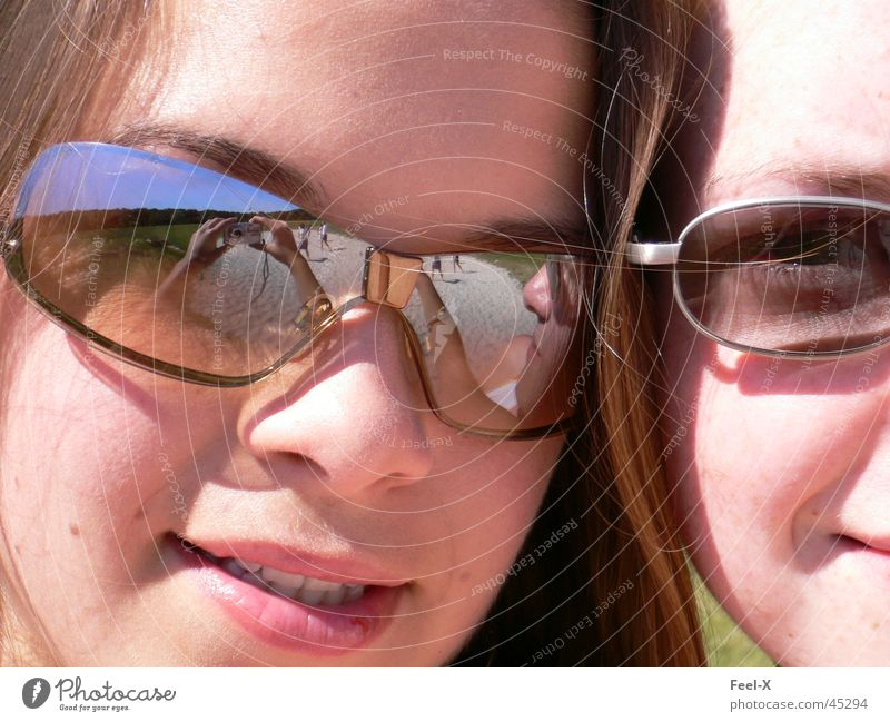 Human being Girl Beautiful Laughter Mirror Sunglasses