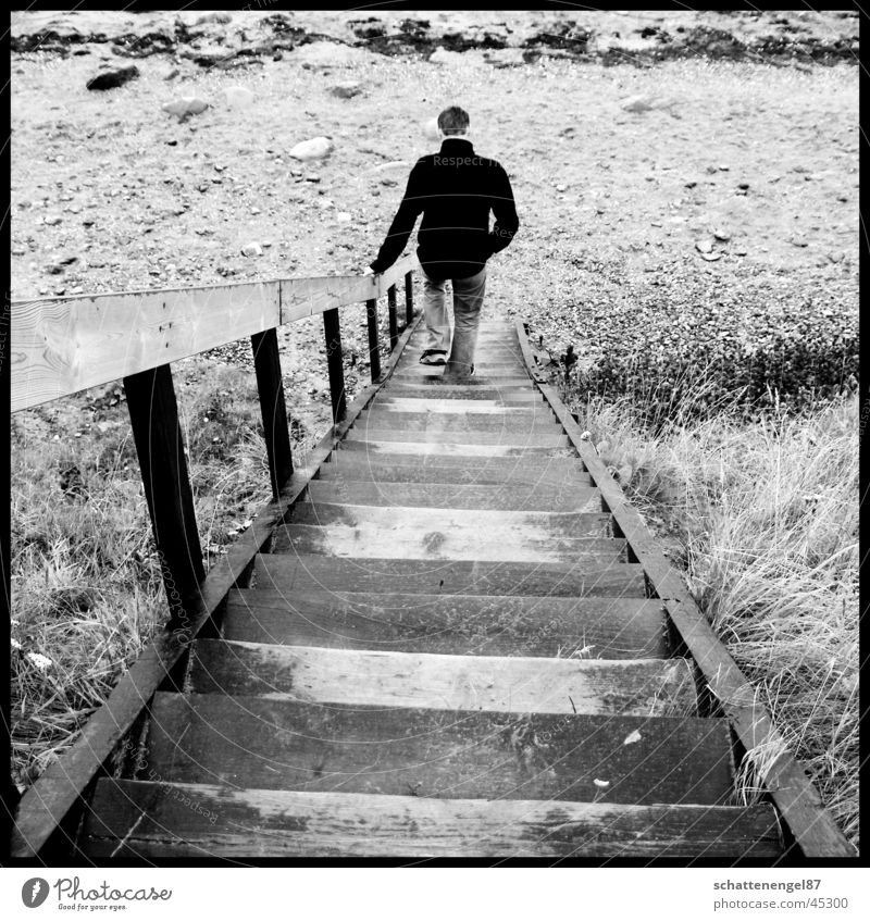 leaving Vacation & Travel 2 Beach Man Light Black White Gray scale value Island Denmark Stairs Loneliness Shadow Frame