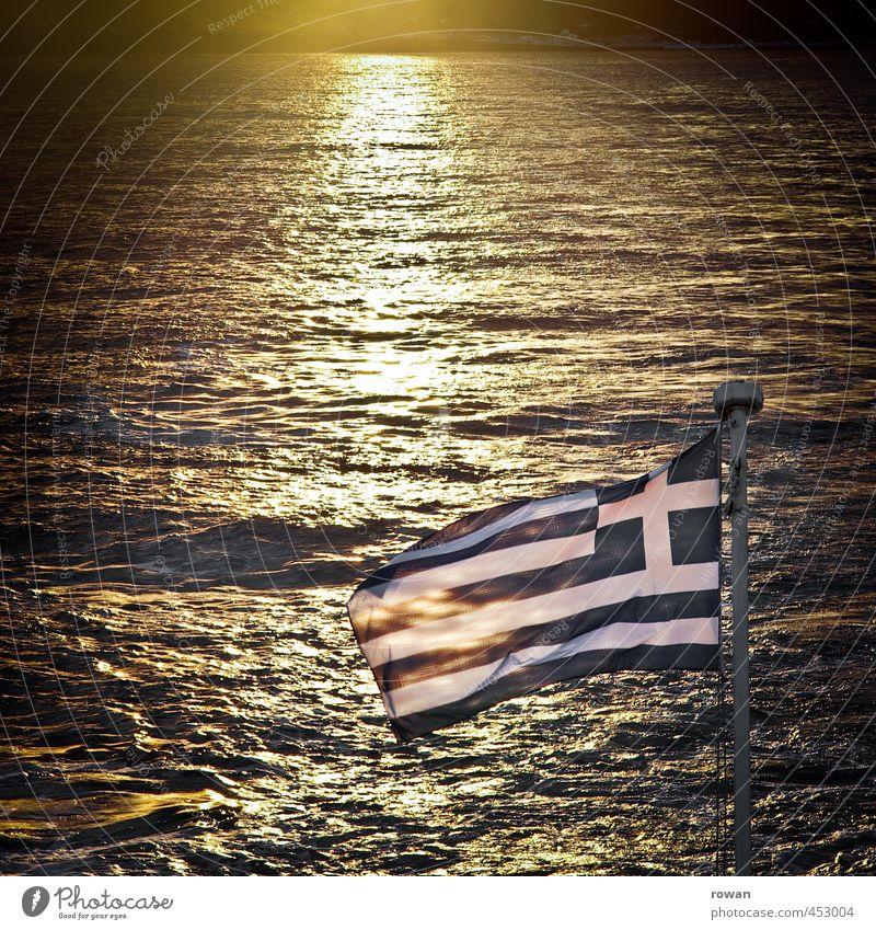 Greek Waves Coast Ocean Blue Greece Flag Navigation Watercraft Ferry Mediterranean sea Warmth Summer vacation Summery Flagpole Colour photo Exterior shot