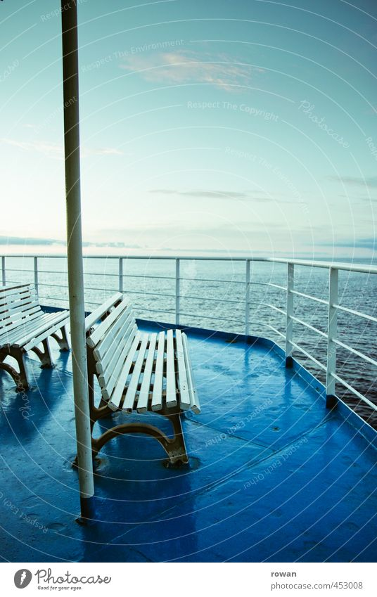 blue Ocean Navigation Cruise Boating trip Passenger ship Cruise liner Blue Bench Deck Handrail Vantage point Far-off places Horizon Calm Relaxation Dusk Evening