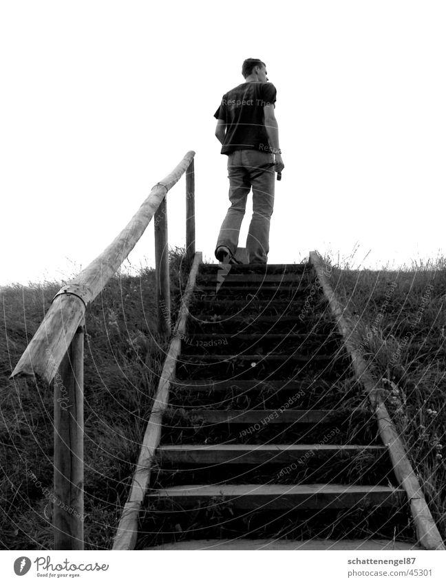 look up Man Vacation & Travel Black White Gray scale value Key Stairs Looking Island Denmark Center point