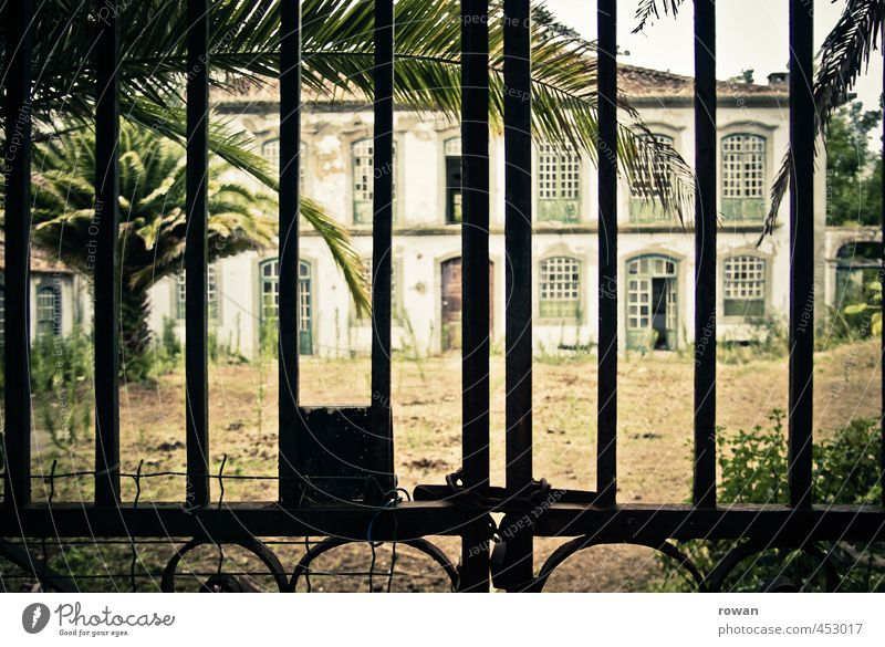Old House (Residential Structure) Architecture Building Facade Gloomy Closed Broken Retro Historic Castle Manmade structures Creepy Gate Uninhabited Palm tree
