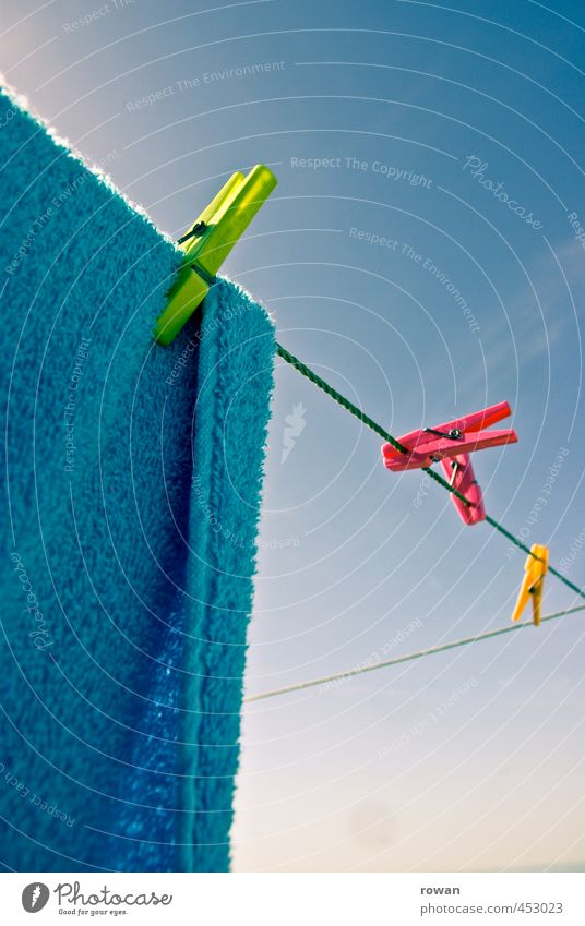 drying 3 Living or residing Flat (apartment) Warmth Multicoloured Laundry Clothesline Washing Clothes peg Dry Hang Sunlight Towel Colour photo Exterior shot