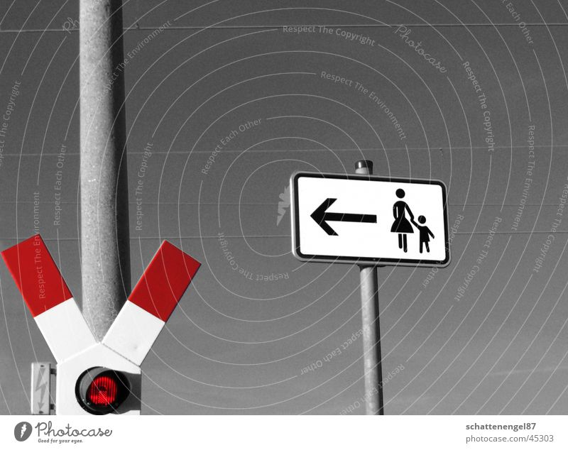 Woman Child Red Signs and labeling Railroad Arrow Road marking Monochrome Railroad crossing