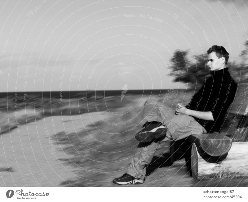 lost in thought. Think Thought Motion blur Gray scale value Black Man Vacation & Travel ponder Movement Baltic Sea Lanes & trails Water Sky Bench