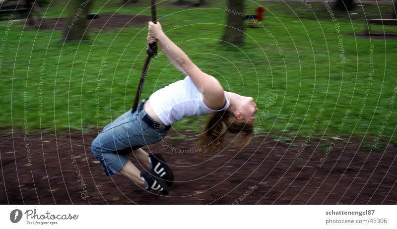 Woman Human being Green Hair and hairstyles Brown Footwear Arm Speed To enjoy Hang Swing Playground Bent