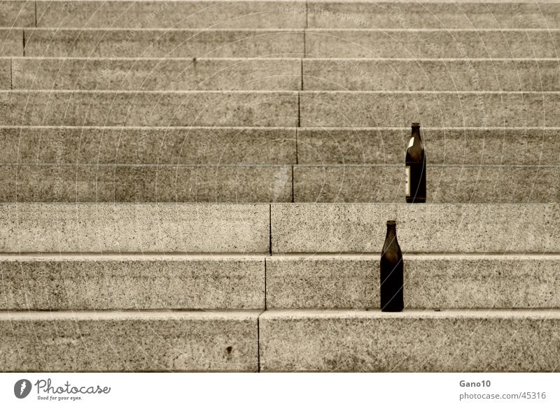 ~~ ? drunk up ? Beer Beverage Empty Bottle of beer Leisure and hobbies Stairs Alcoholic drinks