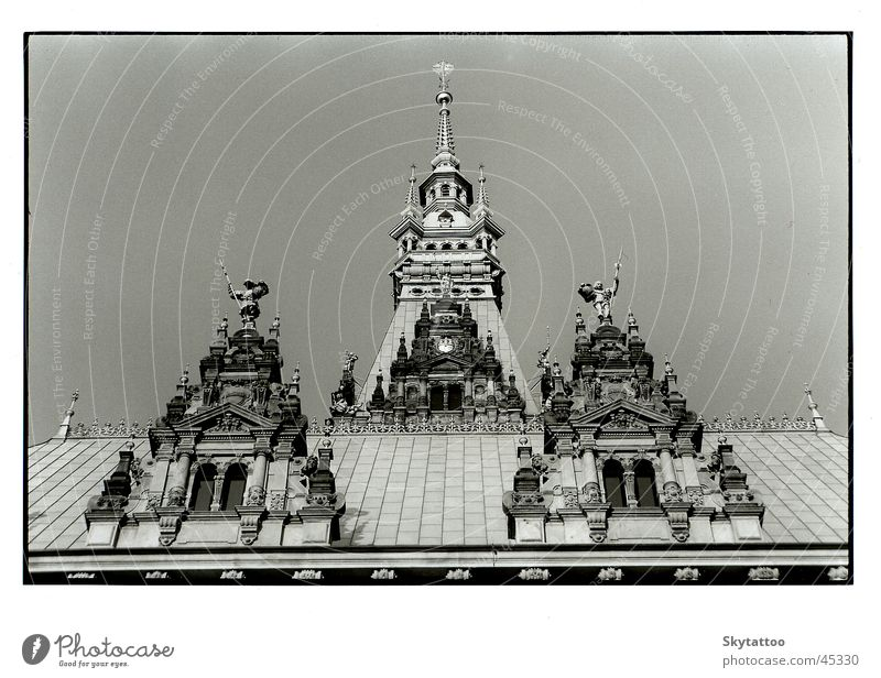 turrets Building Tower Window Roof City hall Historic Architecture Black & white photo Hamburg