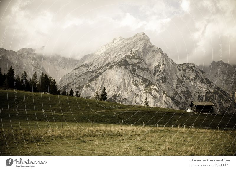 postcard greetings from tirol: 1€ Harmonious Well-being Contentment Relaxation Calm Vacation & Travel Summer vacation Mountain Hiking Dream house Environment