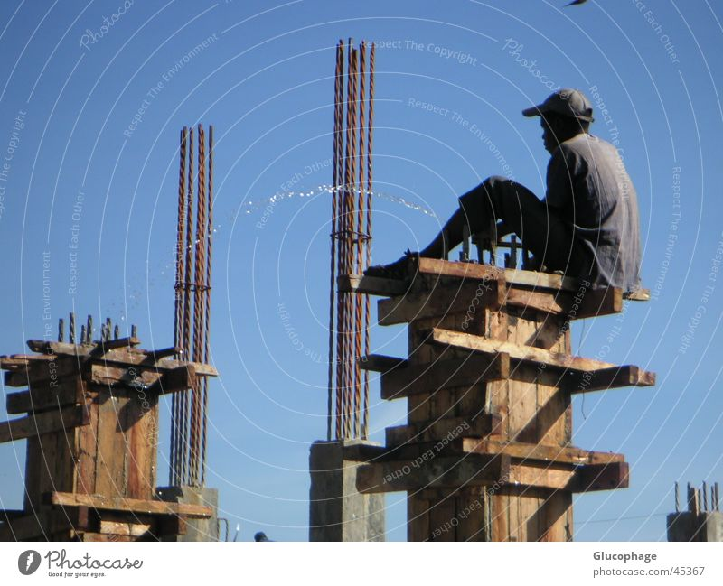 Man Joy Calm Black Relaxation Work and employment Working man Funny Contentment Action Break Construction site Office Profession Africa Creativity
