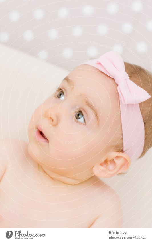 little sunshine Girl Bow Pink Baby Cute Child Infancy Point Face Headband Delicate 0 - 12 months Natural Beautiful Perspective Pipe dream