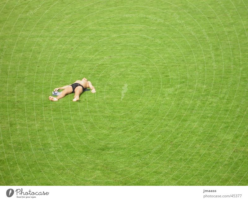 Man Loneliness Grass Lie Sunbathing