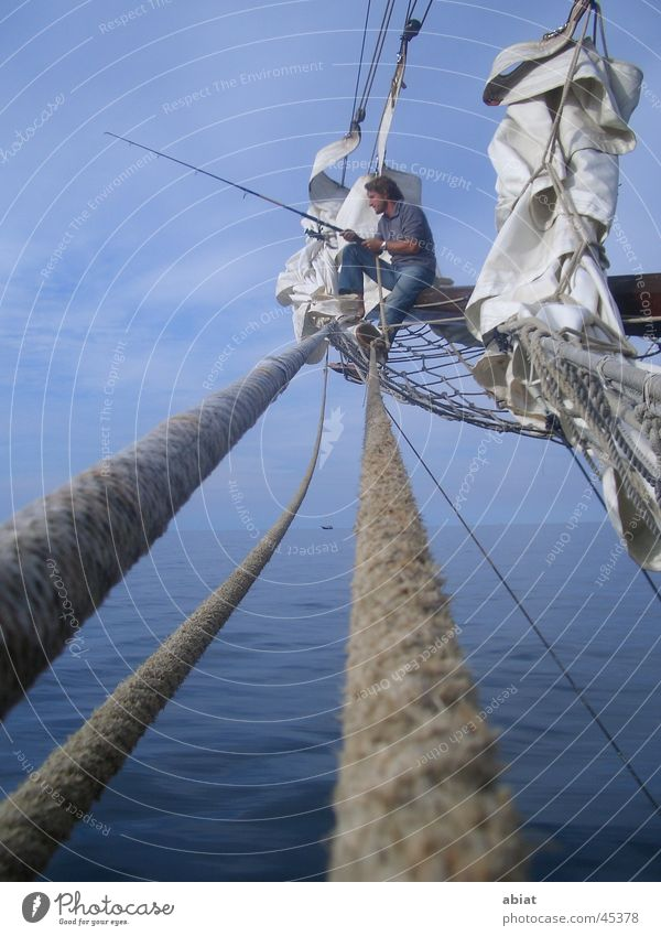 pure relaxation Fishing (Angle) Sailing Relaxation Sailing ship Ocean Navigation Water Baltic Sea Sky Rope Net