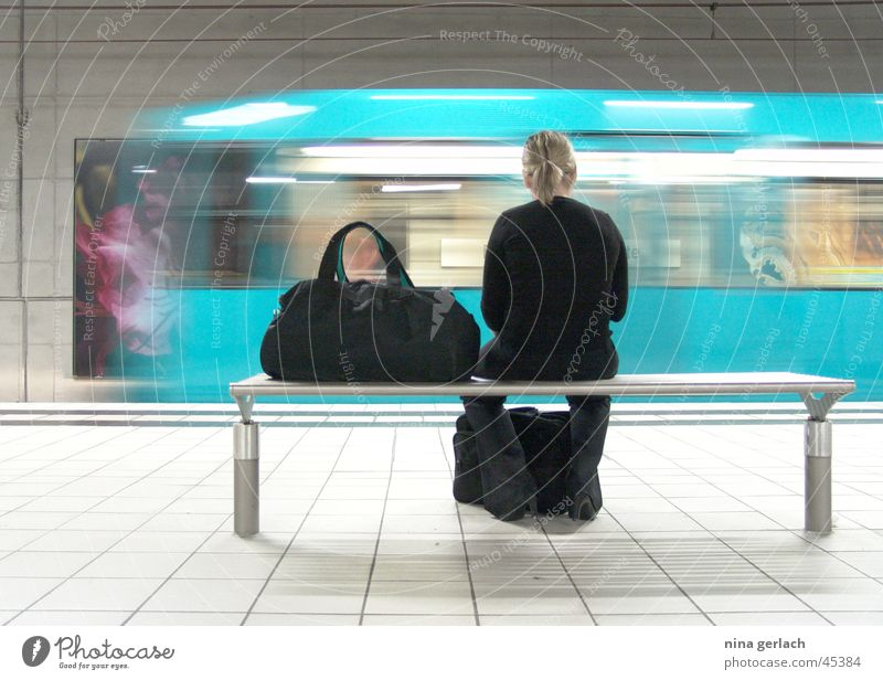 Bockenheimer Warte Underground Woman Long exposure Europe Wait Train station Contrast