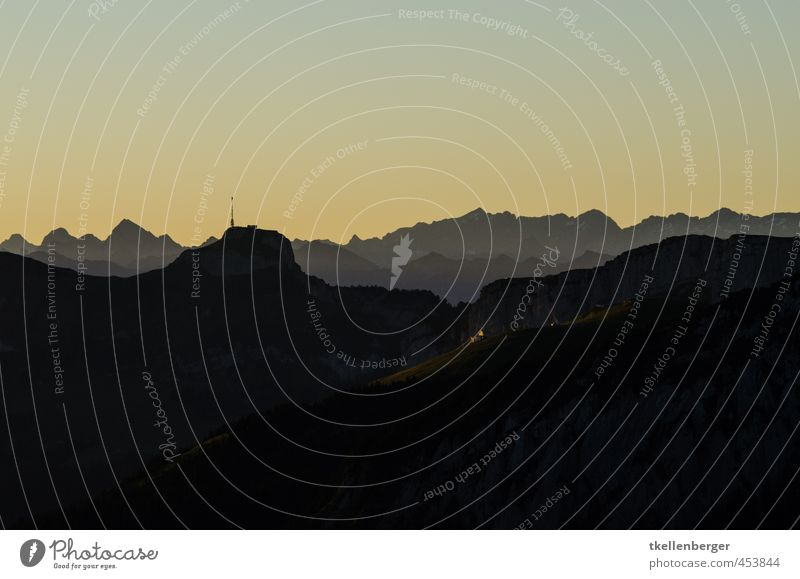 silhouette Nature Rock Alps Mountain Alpstein Canton Appenzell appenzellerland High box Switzerland Alpine foothills Peak Sports Tourism Climbing Cable car
