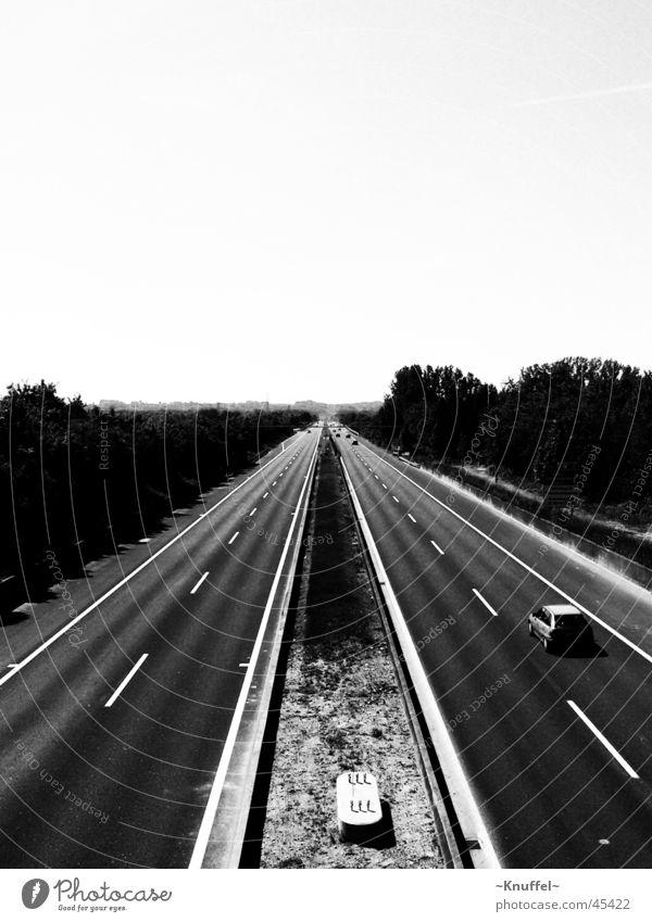 freeway Highway Freeway Black & white photo Car Street Lanes & trails