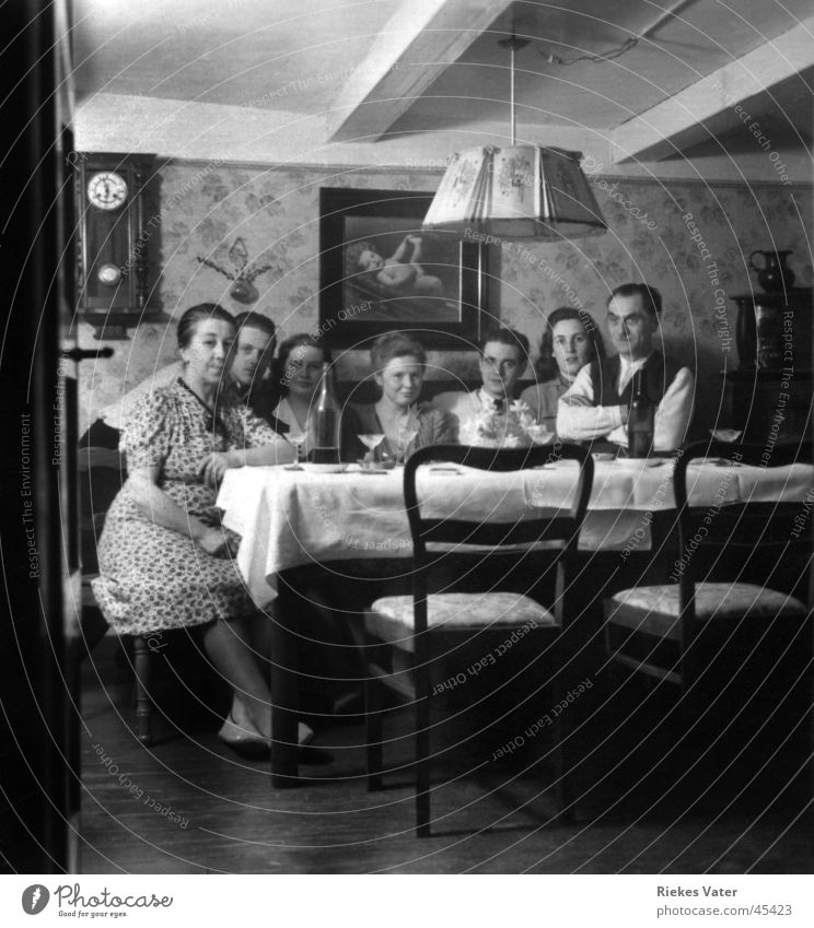 View into the living room Living room Man Woman Party Family & Relations Friendship Posture Group Club Feasts & Celebrations 1945 Forties Black & white photo