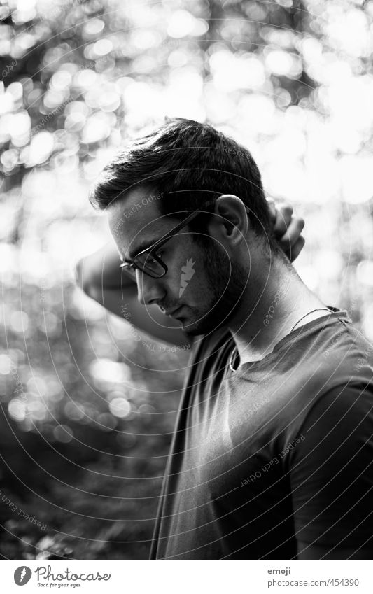 profile Masculine Young man Youth (Young adults) Head 1 Human being 18 - 30 years Adults Beautiful Meditative Earnest Black & white photo Exterior shot Day