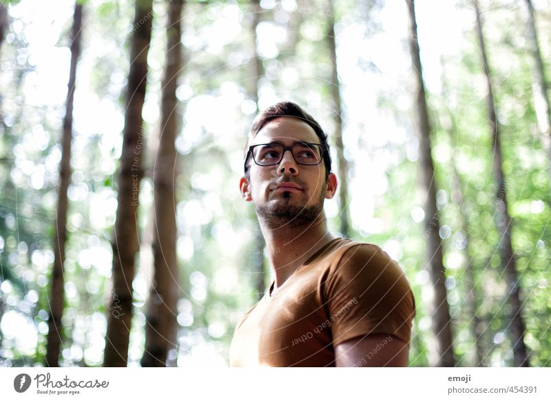 Light & Shadow Masculine Young man Youth (Young adults) Face 1 Human being 18 - 30 years Adults Forest T-shirt Eyeglasses Beautiful Colour photo Exterior shot