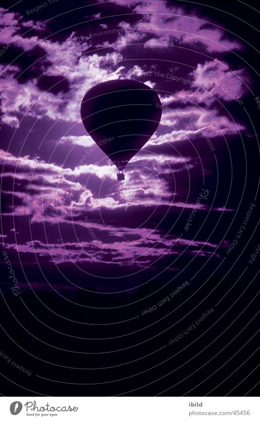 Sky Clouds Aviation Violet Hot Air Balloon