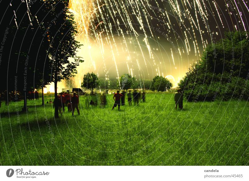 shower of gold Night Long exposure Light Group Dark Human being Meadow Foreground Event Firecracker Reaction Evening Blaze Lamp Sky Feasts & Celebrations Rain