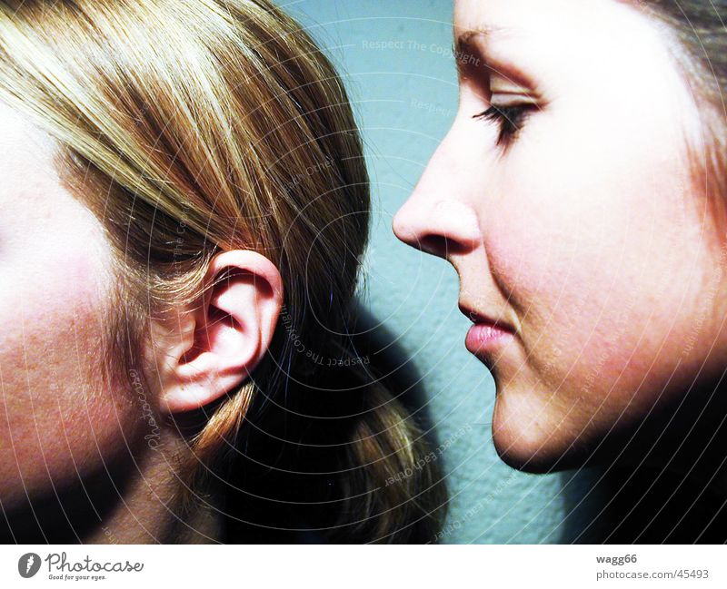 Woman Human being Eyes To talk Hair and hairstyles Mouth Nose Ear Whisper