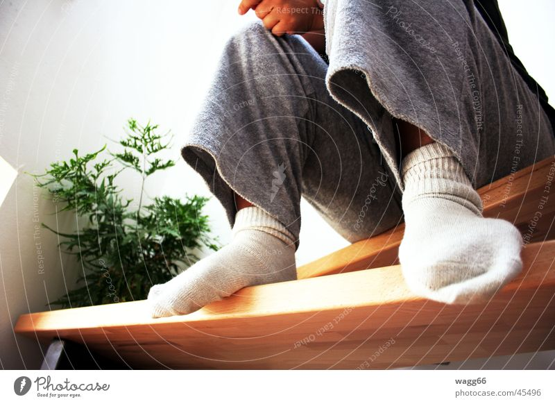 Woman Legs Sit Stairs Stockings Household Comfortable