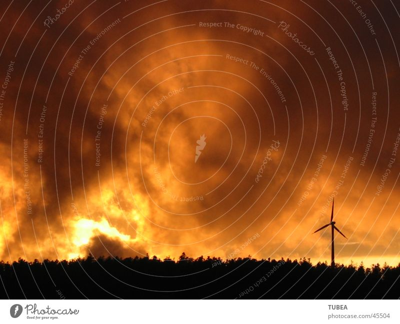 evening mood Clouds Sunset Dusk Wind energy plant Evening Blaze
