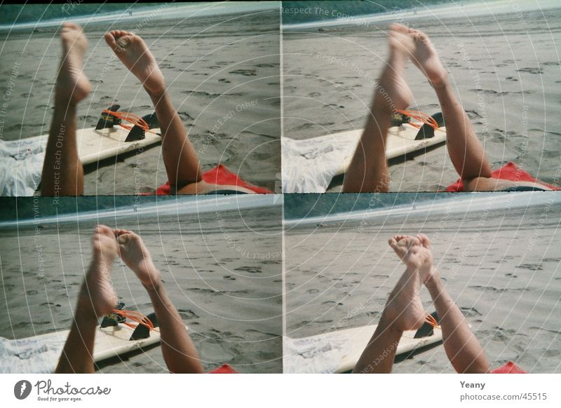 relaxed Beach Vacation & Travel Relaxation Surfboard Lomography Sand Legs Feet