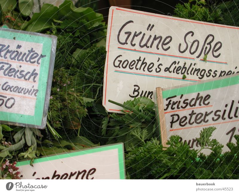 "Green sauce Herbs and spices Munich Viktualienmarkt Parsley Close-up Nutrition Markets Signs and labeling ""Goethe's favourite dish"""