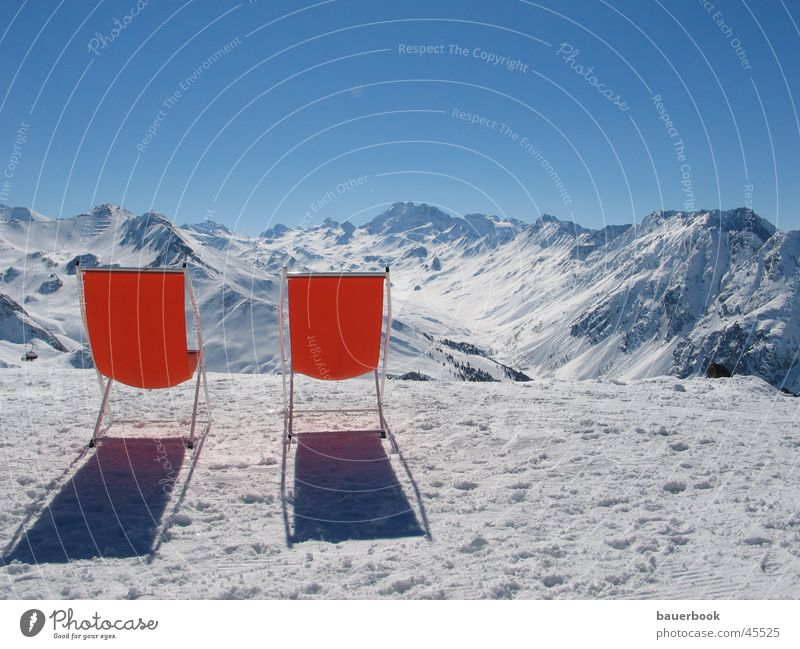 mountain view Deckchair Vantage point Panorama (View) Switzerland Austria Winter vacation Break Calm Together Peak Vacation & Travel Europe Alps Snow Sun
