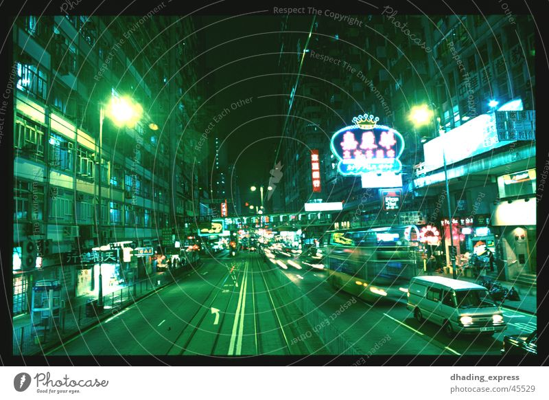 Green light Night Neon light Transport China Hongkong Architecture Movement Street Town Closed Odor