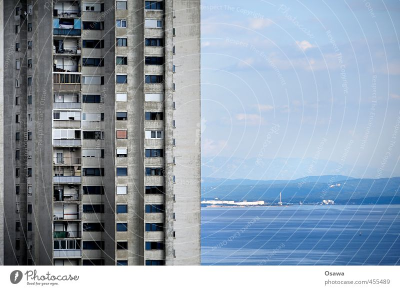 Rijeka Ocean House (Residential Structure) Water Horizon Building Architecture Facade Balcony Window Concrete Old Blue Gray Apartment Building Tower block