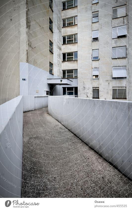 Old House (Residential Structure) Window Lanes & trails Architecture Wall (barrier) Building Gray Facade Gloomy Concrete Derelict Apartment Building Footbridge