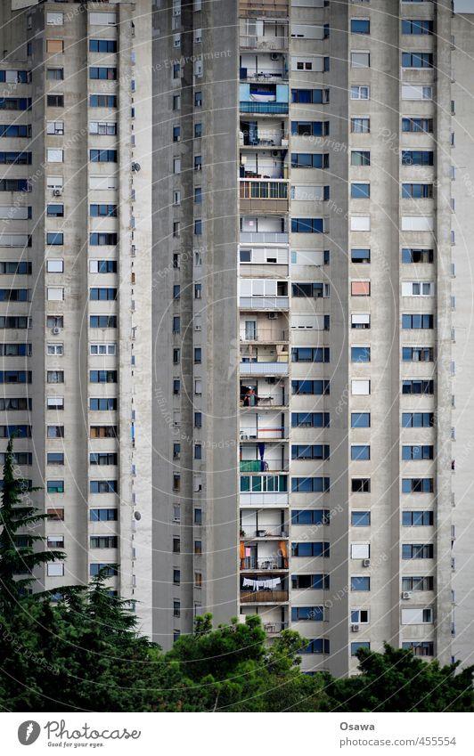 Old Window Architecture Gray Facade Gloomy High-rise Concrete Derelict Balcony Apartment Building Tower block Prefab construction Croatia Weathered Rijeka
