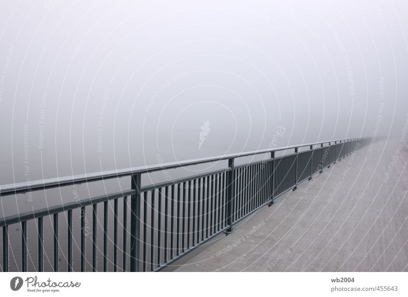 Railing in fog Bridge railing Concrete Steel Water Cold Colour photo Exterior shot Deserted Morning Shallow depth of field Wide angle Looking into the camera