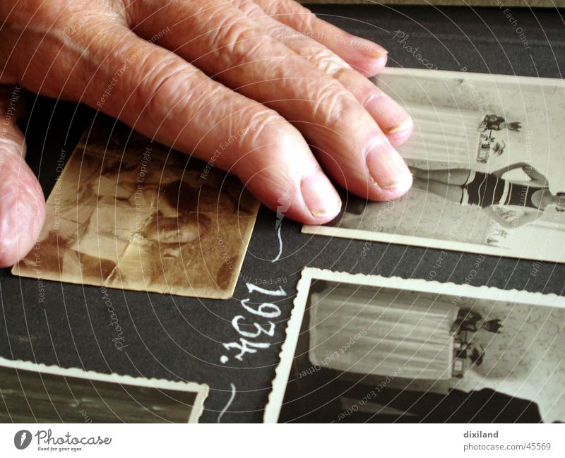 Swimwear in the olden days Hand Photography Memory Fingers Photo album Time Past Present Day Former Great grandmother Woman Old 1934 Youth (Young adults)
