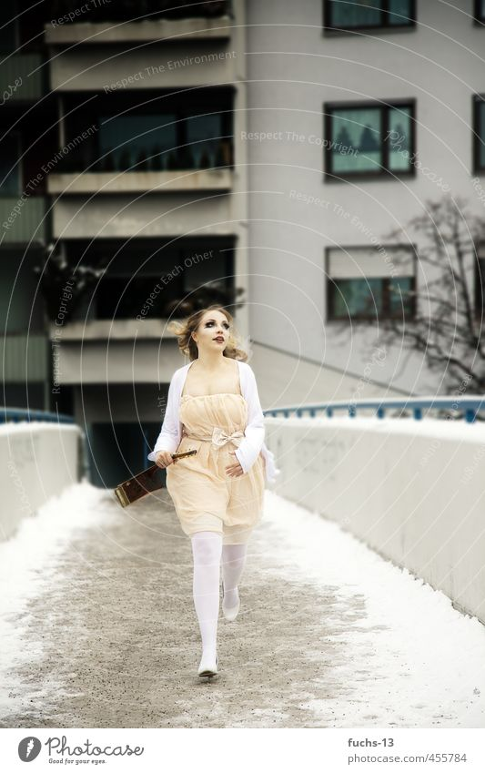 running Feminine Young woman Youth (Young adults) 1 Human being 18 - 30 years Adults Guitar Winter Skyline House (Residential Structure) Bridge Dress Movement