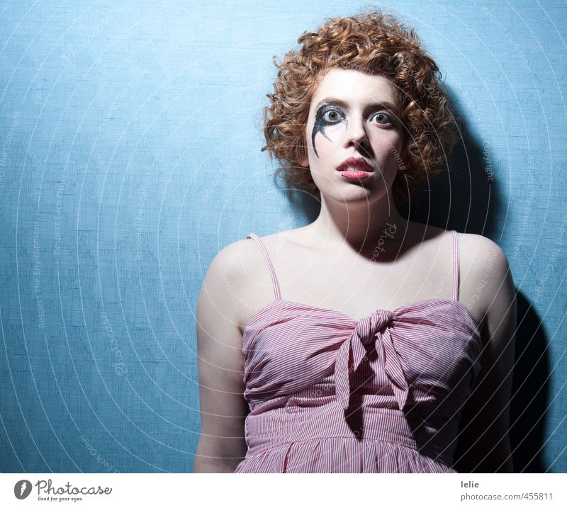 I'll be your clown Human being Feminine Young woman Youth (Young adults) 1 18 - 30 years Adults Skirt Hair and hairstyles Red-haired Curl Looking Dream Sadness