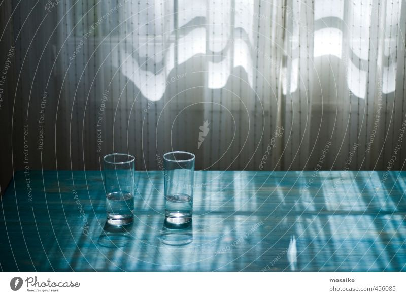 light and water - glasses on a blue table - in front of a window Blue Beautiful Water White Relaxation Calm Window Life Wood Design Dream Living or residing