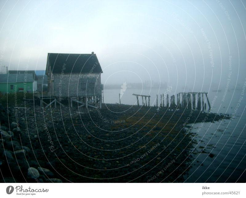 Boathouse in the fog Fog Footbridge Fishermans hut Weathered Decompose Putrefy Support Coast Ocean Canada Nova Scotia Fishery Hut Pole Water