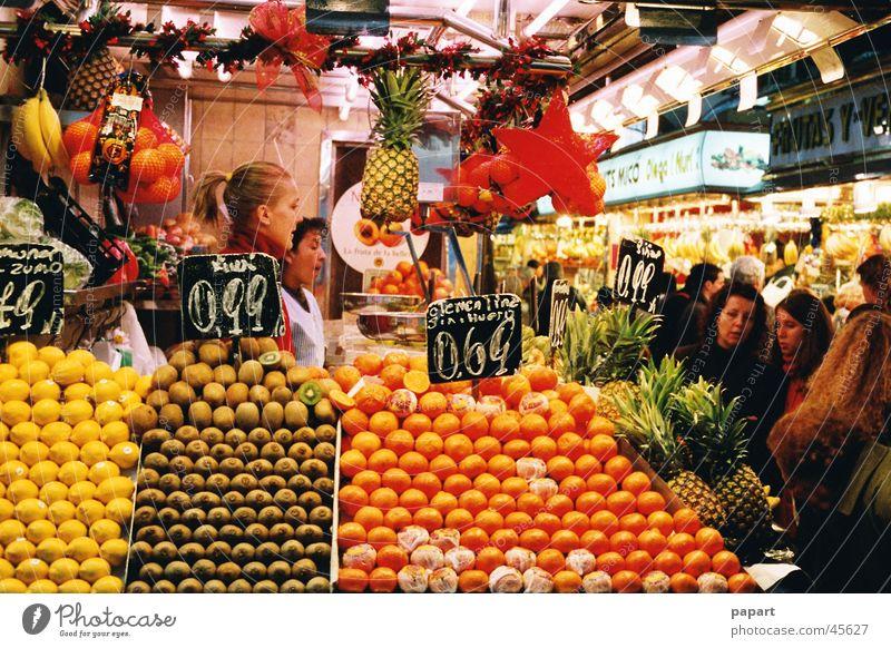 fruits Juicy Healthy Markets Trade Shopping Fresh Multicoloured Yellow Orange Lemon Hall Kiwifruit Price tag Covered market Customer Sell Advertise Bundle