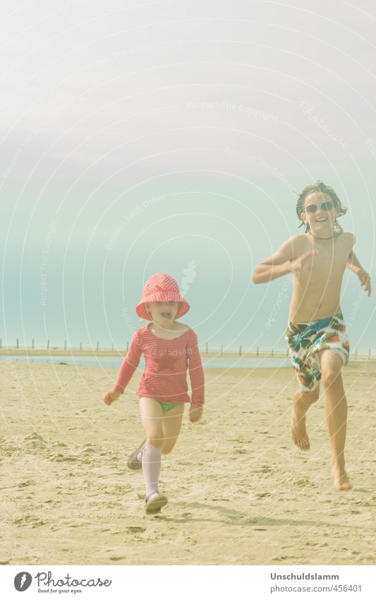 Human being Child Sky Vacation & Travel Summer Ocean Girl Joy Clouds Beach Life Boy (child) Playing Laughter Happy Together
